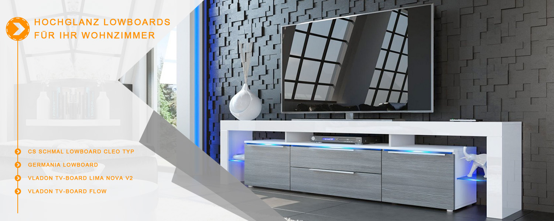 die besten hochglanz lowboards wohnideen f r ihr wohnzimmer. Black Bedroom Furniture Sets. Home Design Ideas