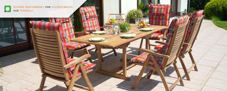 Schöne Gartenmöbel von Villeroy & Boch aus Teakholz