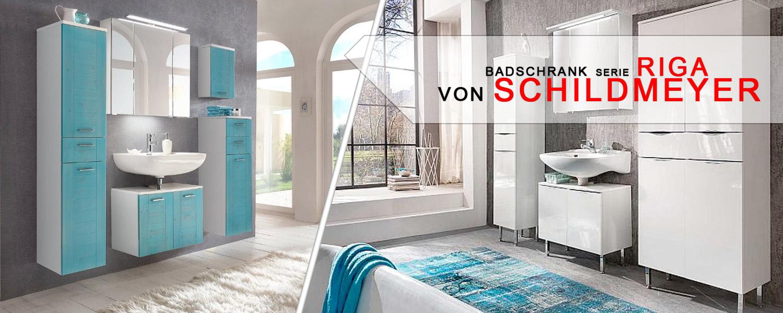 Badschrank Serie Riga von Schildmeyer - Blaues Design für ihr Bad